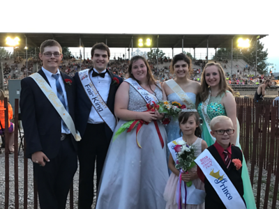Back row, from left: Whalter Briggs, first runner-up as king; Fair King Quade Mainzer, Fair Queen Ashley Stroud, Cecelia Mainzer, first runner-up as queen, and second-runner-up Grace Winrod. Front row, from left: Fair princess Isabella Thiel and Fair Prince Brentley Garnes. LYDIA MAINZER / GAZETTE