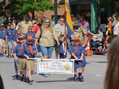 BOB FINNAN / GAZETTE Cub Scout Pack 3507, of Medina, is marching in the Memorial Day parade Monday.