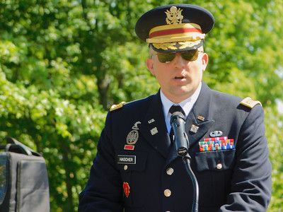 BOB FINNAN / GAZETTE Maj. Andy Hascher, U.S. Army foreign area officer and a Medina native, is the guest speaker at Spring Grove Cemetery on Monday