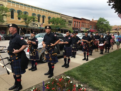 The Celtic Eagle Pipe Band, which rehearses in Norton but includes bagpipers from throughout the area, perform Saturday during the Medina County Pizza Palooza.    BOB SANDRICK / GAZETTE