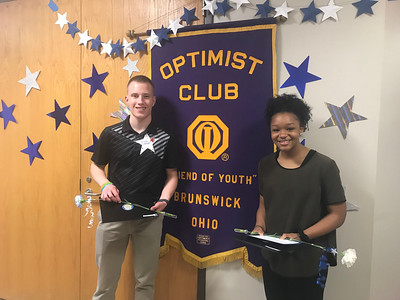 ALYSSA ALFANO / GAZETTE Brunswick High School juniors Kevin Gabriel and Kennedy Robinson were recognized Wednesday at the Brunswick Optimist Club's annual Respect for Law and Youth Appreciation Day event. In total, 22 students were lauded this year.
