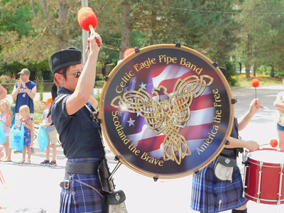 BOB FINNAN / GAZETTE This drummer for the Celtic Eagle Pipe Band led a procession of bagpipes down state Route 303 in the Valley City Fourth of July parade Thursday.