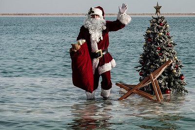 Santa Claus Relaxes at the Dead Sea