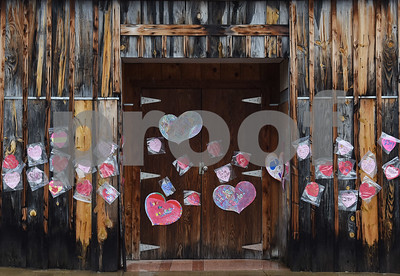 Paper hearts and taped to the old New York Store on Valentine's Day, Tuesday Feb. 14, 2017.  Building owner John O'Sullivan plans to turn the structure into multiple loft style apartments to increase downtown living options.  (Sarah A. Miller/Tyler Morning Telegraph)