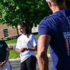 KRISTOPHER RADDER — BRATTLEBORO REFORMER<br /> Before the start of the March, 1Lt. Lauren Mabie, a native of Brattleboro, talks to a handful of people about the importance of the walk at the starting location at Brattleboro Union High School on Sunday, July 8, 2018.