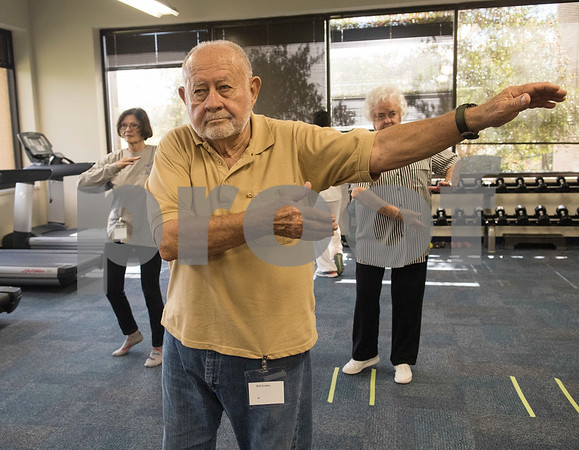 Bob Bradley of Flint practices tai chi at the University of Texas at Tyler Tuesday Feb. 21, 2017. The class started as a three month study on the effects of tai chi on patients with peripheral neuropathy and is continued as a community service.   (Sarah A. Miller/Tyler Morning Telegraph)