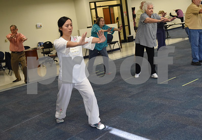 Visiting scholar Ting Liao leads tai chi at the University of Texas at Tyler Tuesday Feb. 21, 2017. The class started as a three month study on the effects of tai chi on patients with peripheral neuropathy and is continued as a community service. Ballard created the study.  (Sarah A. Miller/Tyler Morning Telegraph)