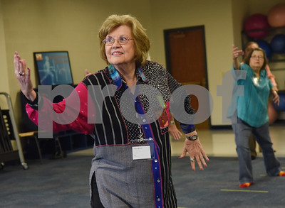 Diana Brown of Tyler practices tai chi at the University of Texas at Tyler Tuesday Feb. 21, 2017. The class started as a three month study on the effects of tai chi on patients with peripheral neuropathy and is continued as a community service. Ballard created the study.  (Sarah A. Miller/Tyler Morning Telegraph)