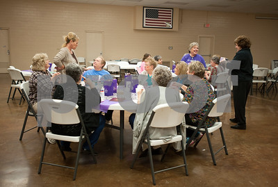 photo by Sarah A. Miller/Tyler Morning Telegraph  Women break for lunch at Cherokee County Relay For Life's annual spa day at the Rusk Civic Center Tuesday.