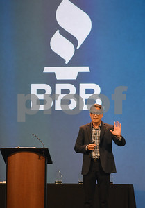 Dennis Skinner, president of Many-To-One, speaks at the Better Business Bureau Awards for Excellence held Tuesday Feb. 7, 2017 at Green Acres Baptist Church.  (Sarah A. Miller/Tyler Morning Telegraph)