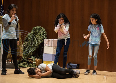 """Campers perform a drama skit called """"Murder Mystery"""" during a spring camp hosted by the non-profit organization Kids Aspiring To Dream in partnership with the University of Texas at Tyler on Tuesday March 12, 2019.  (Sarah A. Miller/Tyler Morning Telegraph)"""