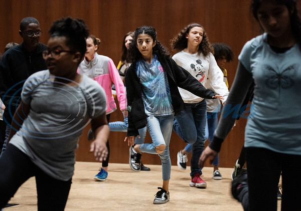 Campers perform a line dance during a spring camp hosted by the non-profit organization Kids Aspiring To Dream in partnership with the University of Texas at Tyler on Tuesday March 12, 2019.  (Sarah A. Miller/Tyler Morning Telegraph)