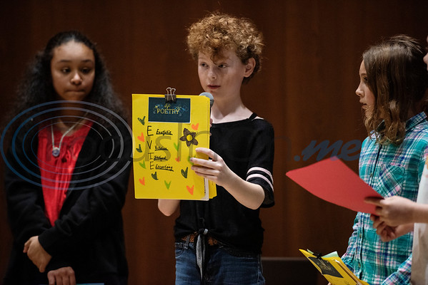 Evie Freeze, 11, of Frankston, recites a poem she wrote during a spring camp hosted by the non-profit organization Kids Aspiring To Dream in partnership with the University of Texas at Tyler on Tuesday March 12, 2019.  (Sarah A. Miller/Tyler Morning Telegraph)
