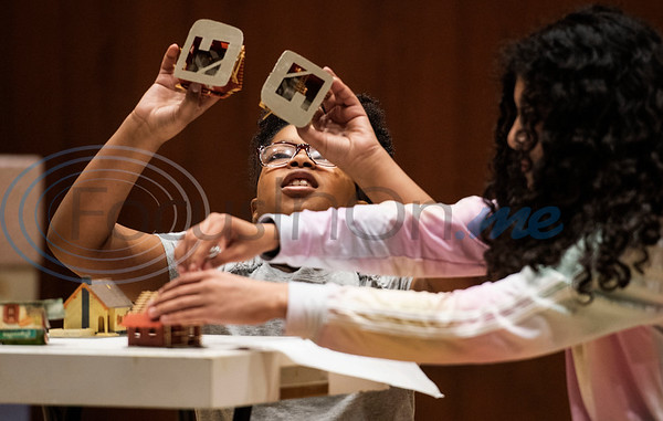 Aamiyah Warren and Dulcinea Coss perform a drama skit during a spring camp hosted by the non-profit organization Kids Aspiring To Dream in partnership with the University of Texas at Tyler on Tuesday March 12, 2019.  (Sarah A. Miller/Tyler Morning Telegraph)