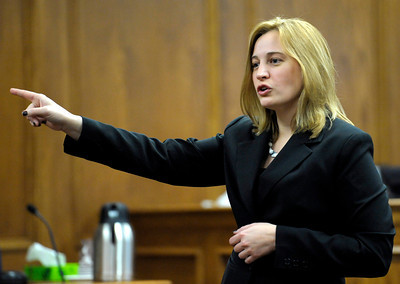 Prosecutor Adrian Van Nice gives her opening statement in the Adam Raszynski trial at the Boulder County Justice Center in Boulder, Colorado March 14, 2012. Rasynski is accused of stomping his mother, Rita Redford, to death after she shot him five times. CAMERA/MARK LEFFINGWELL