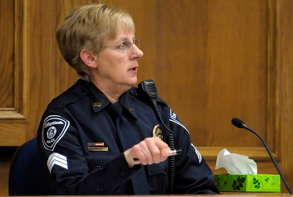 Sgt. Betty Friese, Lafayette PD, point out the location of house during Adam Raszynski's trial at the Boulder County Justice Center in Boulder, Colorado March 14, 2012. Rasynski is accused of stomping his mother, Rita Redford, to death after she shot him five times. CAMERA/MARK LEFFINGWELL