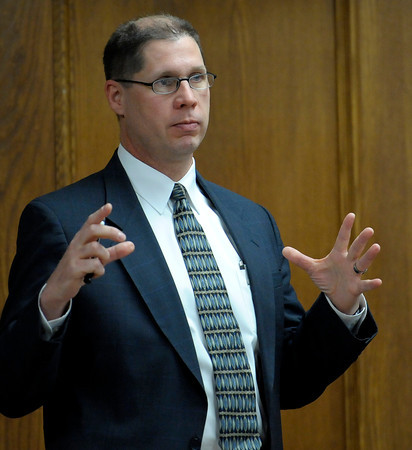 Detective Sgt. Scott Emerson, Lafayette PD, testifies in Adam Raszynski's trial at the Boulder County Justice Center in Boulder, Colorado March 14, 2012. Rasynski is accused of stomping his mother, Rita Redford, to death after she shot him five times. CAMERA/MARK LEFFINGWELL
