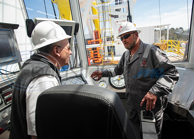 Keith Marshall, left, receives a tour of the Norseman II Series Scan Titan drilling rig from driller Tony Cochran on Monday, March 18, 2019 at the Scandrill rig-up yard in Tyler.   (Sarah A. Miller/Tyler Morning Telegraph)