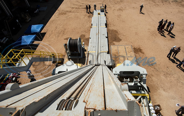The hydraulic catwalk that hauls pipe for the new Norseman II Series Scan Titan drilling rig is seen during a public tour on Monday, March 18, 2019 at the Scandrill rig-up yard in Tyler.   (Sarah A. Miller/Tyler Morning Telegraph)