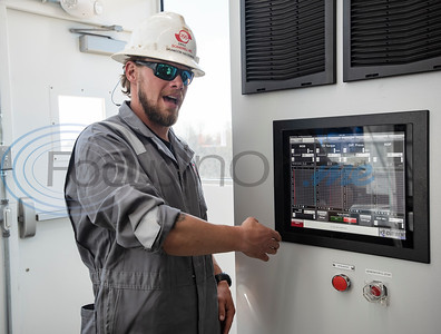 Driller Brandon Haldeman talks about the functions of the HMI screen on the Norseman II Series Scan Titan drilling rig is during a public tour on Monday, March 18, 2019 at the Scandrill rig-up yard in Tyler.   (Sarah A. Miller/Tyler Morning Telegraph)