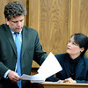 "Prosecutor Ryan Brackley cross-examines toxicology expert Dr. Kathey Verdeal on the contents found in Rita Redford's blood and urine on Tuesday, March 20, during the second-degree murder trial of Adam Raszynski at the Boulder County Justice Center in Boulder. Raszynski is on trial for the murder of his mother Rita Redford. For more photos of the trial go to  <a href=""http://www.dailycamera.com"">http://www.dailycamera.com</a><br /> Jeremy Papasso/ Camera"