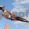 The Tyler Junior College cheerleader CeCe Mathews practices a stunt at Christus Trinity Mother Frances Rose Stadium before the start of the homecoming football game Saturday Sept. 17, 2016.<br /> <br /> (Sarah A. Miller/Tyler Morning Telegraph)
