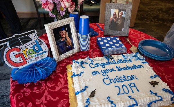 Cake is set out for a reception for Lindale High School senior Christan Patterson's mock graduation ceremony for her father Mark Patterson to attend at Hospice of East Texas in Tyler on Wednesday March 20, 2019. Being able to see Christan graduate was one of Mark's life goals. Mark has late stage Esophageal cancer.   (Sarah A. Miller/Tyler Morning Telegraph)