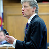 "Defense attorney Seth Temin shows the jury the .22 caliber pistol used by Rita Redford to shoot Adam Raszynski on Wednesday, March 21, during the second-degree murder trial of Adam Raszynski at the Boulder County Justice Center in Boulder. Raszynski is on trial for the murder of his mother Rita Redford. For more photos of the trial go to  <a href=""http://www.dailycamera.com"">http://www.dailycamera.com</a><br /> Jeremy Papasso/ Camera"