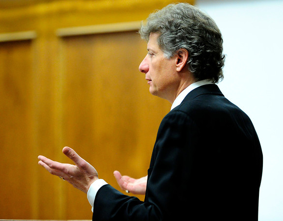 Defense attorney Seth Temin questions Dr. Laura Leach during Adam Raszynski's trial at the Boulder County Justice Center in Boulder, Colorado March 21, 2012.  Raszynski is charged with second degree murder in the death of his mother Rita Redford. CAMERA/MARK LEFFINGWELL