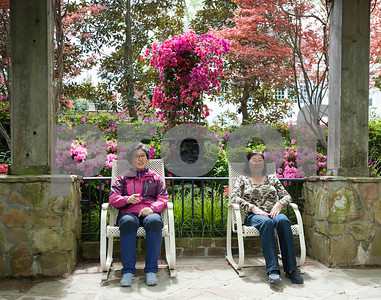 Gwon Hong of South Korea and Un Pyo Lopez of Longview sit as they enjoy the azaleas in Guy and Joan Pyron's yard on Dobbs Street. The Pyrons will host the opening ceremony of the Azalea & Spring Flower Trail Friday at 10 a.m.  (Sarah A. Miller/Tyler Morning Telegraph)