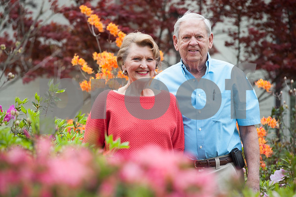 Guy and Joan Pyron are pictured in their yard on Dobbs Street which will once again host the opening ceremony of the Azalea & Spring Flower Trail. The ceremony takes place Friday at 10 a.m.  (Sarah A. Miller/Tyler Morning Telegraph)