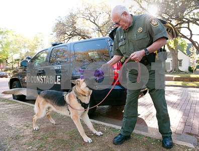 photo by Sarah A. Miller/Tyler Morning Telegraph  Cherokee Constable Eddie Lee brings out a toy to play fetch with German Shepherd Cody at Bergfeld Park in Tyler Monday. Cody will be used as a defensive animal staying with the constable on the job and going with him to schools.