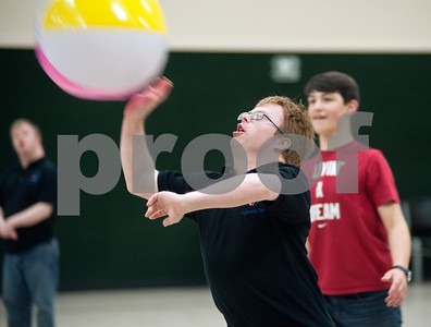 photo by Sarah A. Miller/Tyler Morning Telegraph  Caleb Croster of Lindale plays volleyball Wednesday at Achieving Dreams. Achieving Dreams is a new day program for adults with special needs that meets in Tyler.