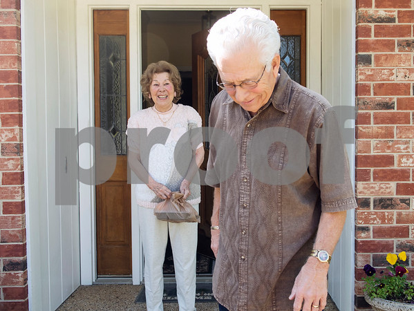Margarita Fraga of Tyler smiles after receiving food at her home from Meals on Wheels Ministry volunteer Michael Rogers Thursday March 30, 2017. Meals on Wheels Ministry currently serves 3,000 seniors and homebound individuals in 30 communities across six counties including Gregg, Henderson, Smith, Upshur, Van Zandt, and Wood counties.  (Sarah A. Miller/Tyler Morning Telegraph)