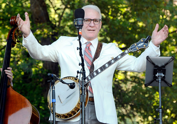 """Actor Steve Martin greets the crowd before performing with The Steep Canyon Rangers on Saturday, July 30, during the 39th annual RockyGrass Festival at The Planet Bluegrass Ranch in Lyons. For more photos and a video of the festival go to  <a href=""""http://www.dailycamera.com"""">http://www.dailycamera.com</a><br /> Jeremy Papasso/ Camera"""
