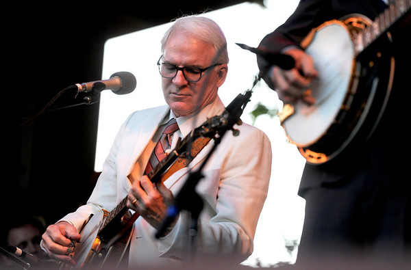 "Actor Steve Martin jams away on his banjo while playing with The Steep Canyon Rangers on Saturday, July 30, during the 39th annual RockyGrass Festival at The Planet Bluegrass Ranch in Lyons. For more photos and a video of the festival go to  <a href=""http://www.dailycamera.com"">http://www.dailycamera.com</a><br /> Jeremy Papasso/ Camera"