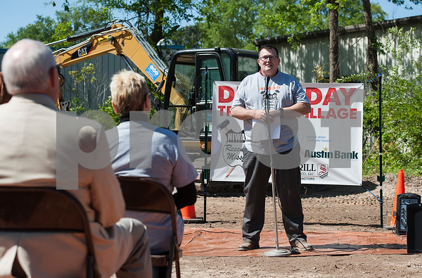 Hiway 80 Rescue Mission executive director Eric Burger speaks during their Demo Day event on Tuesday April 19, 2018 at the Triumph Village sit in Tyler. Hiway 80 Rescue Mission invited special guests, along with a construction crew, to help demolish a structure to make room for new buildings for the New Creation Discipleship Program.  (Sarah A. Miller/Tyler Morning Telegraph)