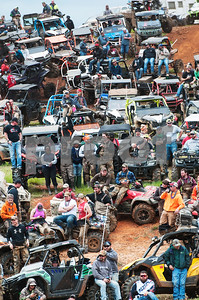People and their all terrain vehicles line the hills around the venue for the Arctic Cat Mudda Cross event Friday afternoon April 1, 2016 at the High Lifter ATV Mud Nationals presented by Polaris at Mud Creek Off-Road Park in Jacksonville.  (Sarah A. Miller/Tyler Morning Telegraph)