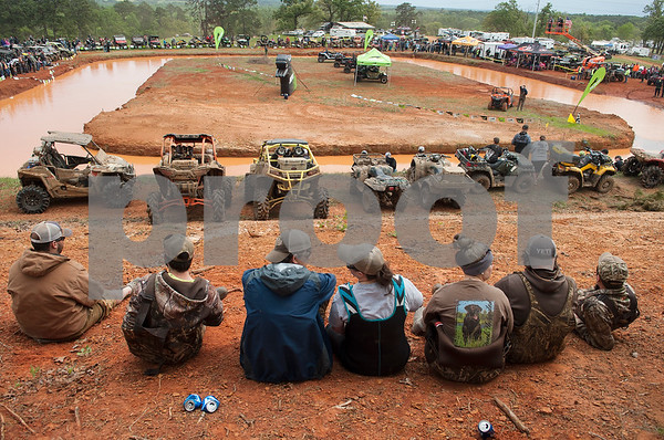 Spectators gather to watch the Arctic Cat Mudda Cross event Friday afternoon April 1, 2016 at the High Lifter ATV Mud Nationals presented by Polaris at Mud Creek Off-Road Park in Jacksonville.  (Sarah A. Miller/Tyler Morning Telegraph)