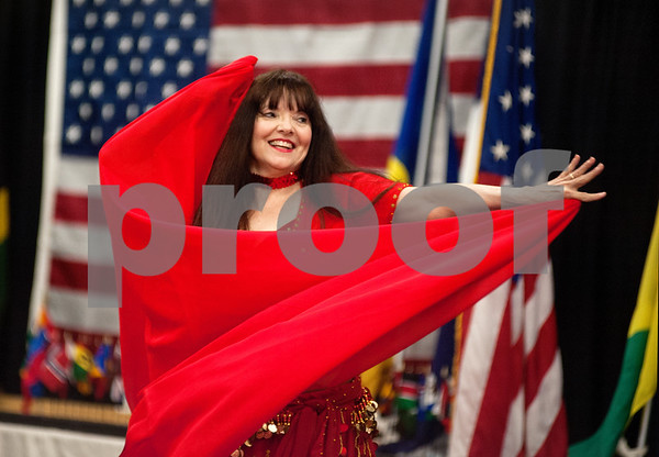 photo by Sarah A. Miller/Tyler Morning Telegraph  A member of Sisters of the Dance performs a belly dance routine at Tyler Junior College's International Day Tuesday.