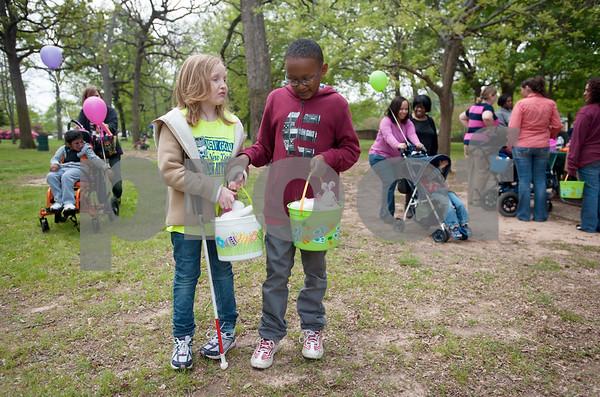 Blind Children Hunt Easter Eggs