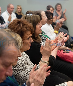 People applaud after learning of a grant for rural broadband The East Texas Council of Governments will receive from the U.S. Economic Development Administration, announced Wednesday April 17, 2019 in Kilgore.  (Sarah A. Miller/Tyler Morning Telegraph)