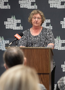 Paula Gentry, Upshur County Commissioner for Precinct 1 speaks at the press conference announcing a grant for rural broadband ETCOG will receive from the U.S. Economic Development Administration.  (Sarah A. Miller/Tyler Morning Telegraph)