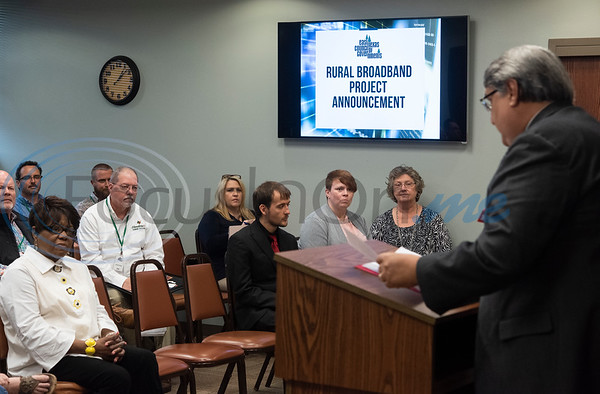 Jorge Ayala, the regional director for the U.S. Economic Development Administration announces Wednesday April 17, 2019 in Kilgore that The East Texas Council of Governments received a grant for rural broadband access. With the grant, ETCOG will create a strategic plan for deploying broadband infrastructure to businesses in each of its 14 member counties.   (Sarah A. Miller/Tyler Morning Telegraph)