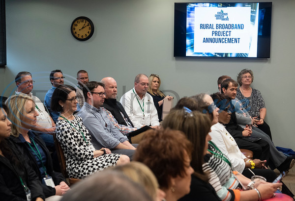 People attend a press conference on April 17, 2019 at the The East Texas Council of Governments in Kilgore for the announcement that ETCOG will receive a grant for rural broadband from the U.S. Economic Development Administration.  (Sarah A. Miller/Tyler Morning Telegraph)