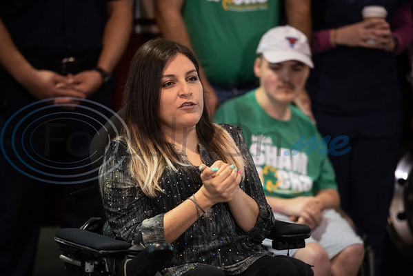Tyler resident Sory Rivera, 31, speaks about how the Muscular Dystrophy Association has helped her over her lifetime during a press conference held at Fire Station No. 7 in Tyler on Wednesday April 17, 2019. The Tyler Fire Department's Fill the Boot campaign is aiming tp raise $70,000 for MDA.   (Sarah A. Miller/Tyler Morning Telegraph)