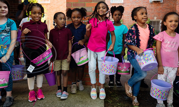 Children wait in line for the start of the Easter egg hunt at the Primary Scholars of Excellence after-school program held at Dale Chapel Baptist Church in Tyler on Thursday April 18, 2019.   (Sarah A. Miller/Tyler Morning Telegraph)
