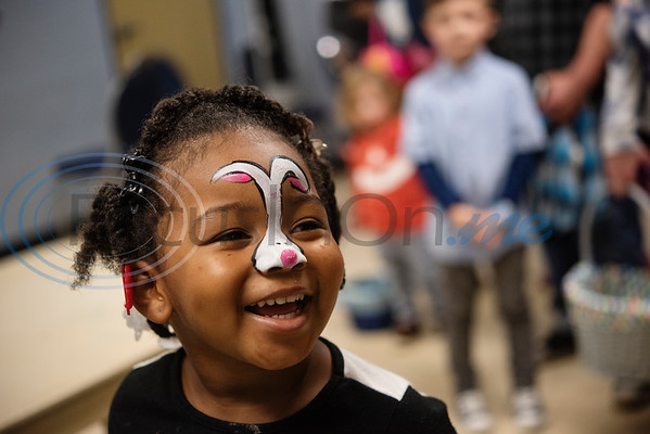 Madisyn Howard, 3, of Tyler, has her face painted like a bunnyat the Tyler Parks and Recreation's 18th Annual Twilight Easter Egg Hunt at the Glass Recreation Center on Thursday April 18, 2019.   (Sarah A. Miller/Tyler Morning Telegraph)
