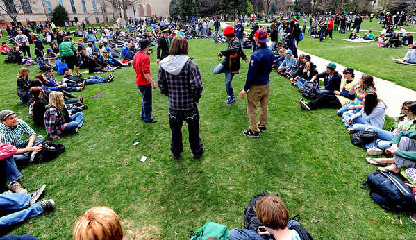"People start to fill in the lawn at about 2:30 p.m.<br /> Several hundred people made their way to the CU campus to indulge in marijuana on 4/20. For several videos and photos of the event, go to  <a href=""http://www.dailycamera.com"">http://www.dailycamera.com</a>.<br /> Cliff Grassmick/ April 20, 2011"