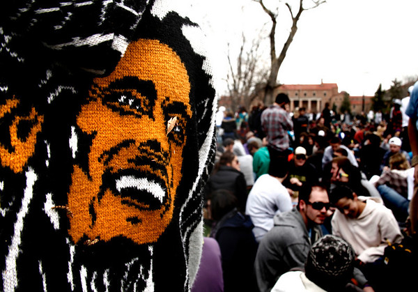 A man who asked not to be identified sports a Bob Marley jacket during the 4/20 festival held in Boulder on the University of Colorado campus April 20, 2011. Chancey Bush/ The Camera